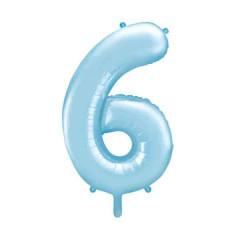 ballon chiffre 6 bleu ciel