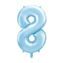 ballon chiffre 8 bleu ciel