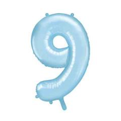 ballon chiffre 9 bleu ciel