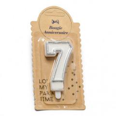 Bougie anniversaire numero n°7 argent