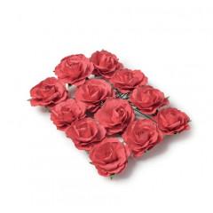 12 Roses papier sur tige rouges