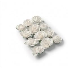 12 Roses papier sur tige blanches