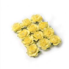 12 Roses papier sur tige jaunes