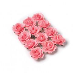 12 Roses papier sur tige corail