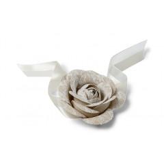 Rose dentelle sur ruban