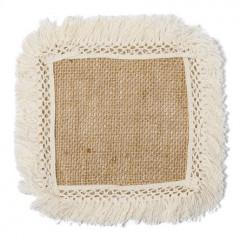 6 napperons jute à franges 12 cm x 12 cm