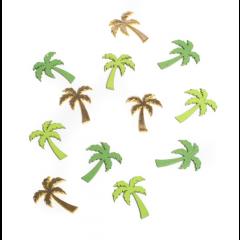 12 palmiers en bois verts et or - 3 cm x 4 cm