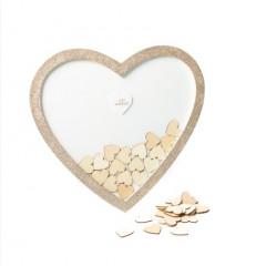 livre d'or cadre en forme de coeur + 60 coeurs en bois