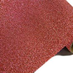 Chemin de table effet métal pailleté - rouge