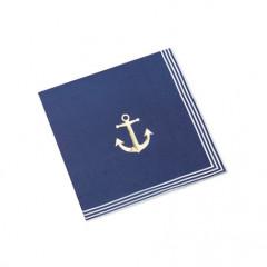 serviette-theme-marin-ancre-or