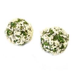 x4 Boules décoratives fleurs blanche