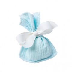 x4 pochons dragées gaze de coton bleu