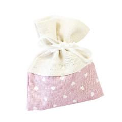 x4 Sachets en tissu rose avec coeur