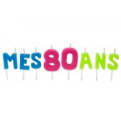 """Bougies lettres sur piques """"Mes 80 ans"""""""