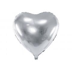 Ballon coeur argent brillant