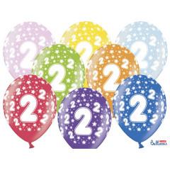 6 ballons multicolores 2eme anniversaire