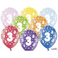 6 ballons multicolores 3eme anniversaire