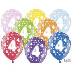 6 ballons multicolores 4eme anniversaire