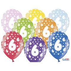 6 ballons multicolores 6eme anniversaire