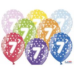 6 ballons multicolores 7eme anniversaire