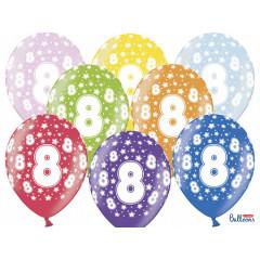 6 ballons multicolores 8eme anniversaire