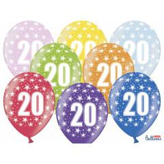 6 ballons multicolores 20eme anniversaire