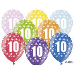 6 ballons multicolores 10eme anniversaire