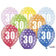 6 ballons multicolores 30eme anniversaire