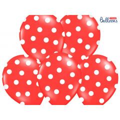 Ballon de baudruche rouge pois blanc