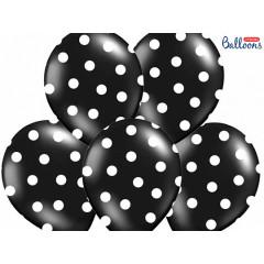 Ballon de baudruche noir pois blanc