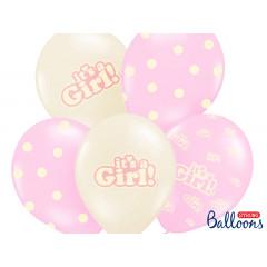 Ballon Baby Shower It's a Girl beige et rose