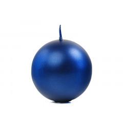 bougie ronde bleu marine métallisée