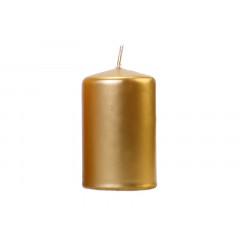 bougie cylindrique métallisée - couleur or - 10 x 6,5 cm