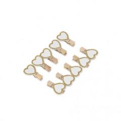 x10 Pinces coeur blanc et pailleté or