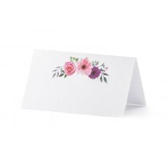 25 x Marque place floral champêtre, 9.5 x 5.5 cm