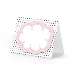 6x Marque place nuage rose et noir