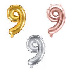 Ballon chiffre 9 - 35cm - Coloris au choix
