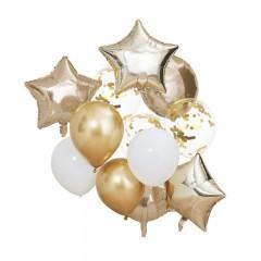 Packs de ballons or et blanc x12