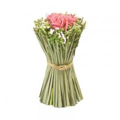 Compo roses roses + fleurs séchées dans gerbe