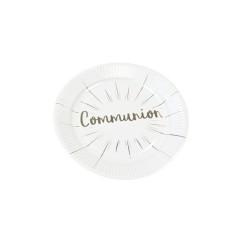 Assiette 18.5cm carton communion blanc et argent x 6