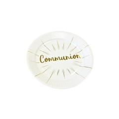 Assiette 18.5cm carton communion blanc et or x 6