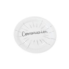 Assiette 23cm carton communion blanc et argent x 6