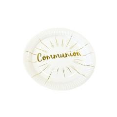 Assiette 23cm carton communion blanc et or x 6