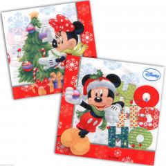Serviettes Mickey et Minnie Noël