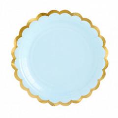 6 assiettes bleu ciel et or