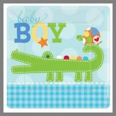 Assiettes Baby Shower 18 cm - Collection garçon - x8