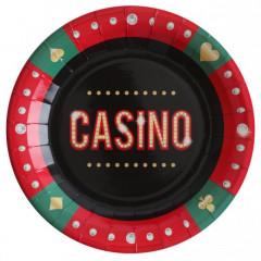 Assiette casino noir, vert et rouge 22 cm