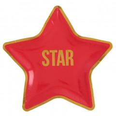 Assiette cinéma STAR étoile rouge et or x10