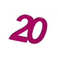 autocollant anniversaire 20 ans fuchsia