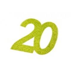 autocollant anniversaire 20 ans vert anis